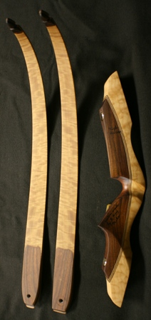 Quilted maple/Bolivian rosewood riser with quilted maple limbs and elk antler tips