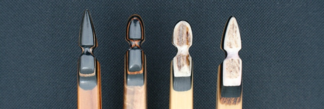 Royal Crown come standard pointed at the top and rounded at the bottom and are micarta and exotic wood, with optional elk antler tips