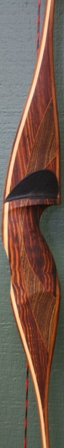 Cocobolo/bacote flare riser with yew veneers and bamboo core with micarta tips